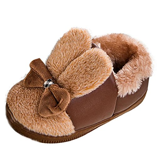 Babyschuhe Longra Kleinkind Baby Mädche Stiefel Schuhe Baby Warm Winter Schuhe mit Bowknot Gummi Soft Sole Schnee Stiefel Soft Krippe Schuhe Kleinkind Stiefel(0-3Jahre) (14CM 6-12Monate, Brown) (Kleinkind-schnee-stiefel 7)