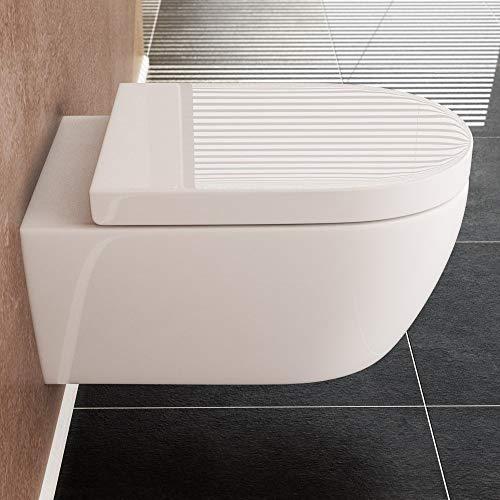 NEG Hänge-WC Uno11 (Tiefspüler) Toilette mit geschlossenem Unterspülrand, Duroplast Soft-Close-Deckel und Nano-Beschichtung - 5