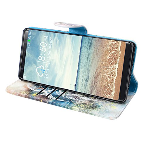 Etui Galaxy Note 8 Cuir Case,Coque Cuir Galaxy N950 Case Rosa Schleife Folio Cuir Portefeuille Ultra Slim Leather Wallet arriere Housse Pochette etui a rabat Smart Cover Flip Clapet Ceinture Livre PU  attrapeur de rêve