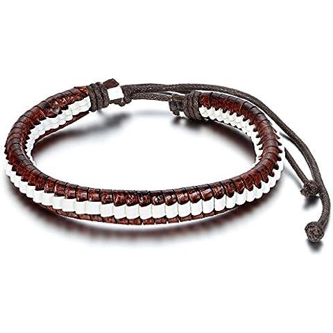 Para mujer para hombre JewelryWe Surf cuerda de cuero trenzado pulsera brazalete 8, puños 3-11, ajustable 6 pulgada (Style C)
