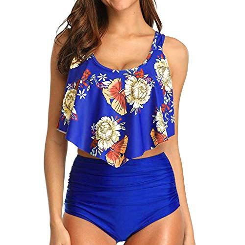 Malloom-Bekleidung Frauen Push Up Lanskirt Frauen-Kostüm-Satz drucken Bano Gefüllte Swimsuits Badeanzug Frauen Bademode 2019 Bikini Print Split Bikini-Oberteil mit V-Ausschnitt