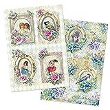 Ideen mit Herz 2 Bogen Reispapier   Edel-Decoupage-Papier   DIN A4   2 Verschiedene Designs   Vintage, Weihnachten und andere (Nostalgie 01)