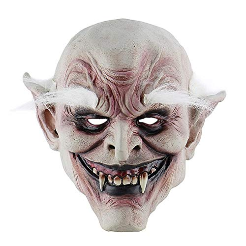KKEINYE Kostüm Trompete Maske White Brow Old Demon Halloween Horror Dämonen Maske Vampire Haunted House Evil Killer 1 (Demon Killer Kostüm)