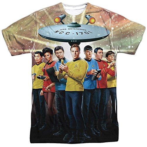 ginal Crew (Front/Back Print) T-Shirt Gr. Medium, Weiß (Star Trek-kleidung)