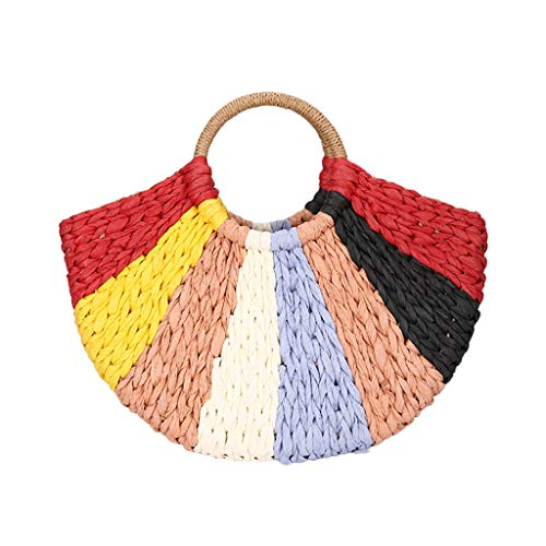 COZOCO Damen Sommer Handtasche Urlaub Stroh Tasche Farbe Strand Meer Reise gewebt Handtasche Leinen Totes(rot,)