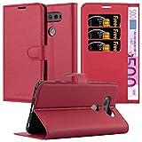 Cadorabo Hülle für LG V20 - Hülle in Karmin ROT – Handyhülle mit Kartenfach und Standfunktion - Case Cover Schutzhülle Etui Tasche Book Klapp Style