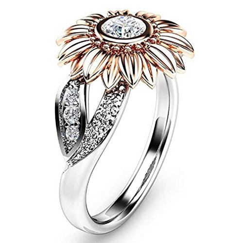 Liquidazione offerte, Fittingran Anello di liquidazione, regalo floreale dei gioielli del girasole dell'oro del diamante di tono dell'oro di due toni di donne due toni (6, Oro rosa)