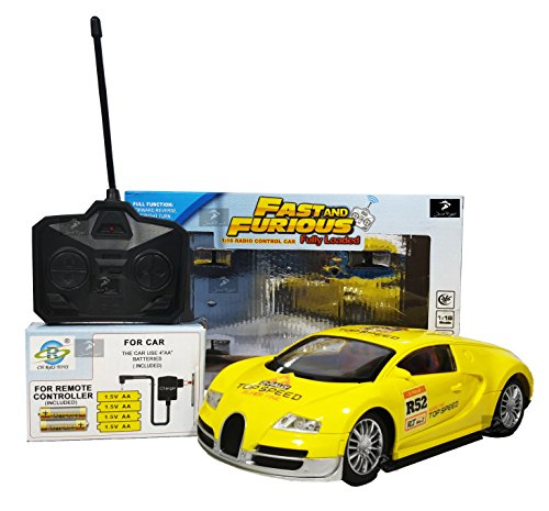 Royal Fast & Furious 1:16 Radio Control Car with 4*AA Batteries and Charger for Car (Yellow Bugatti)