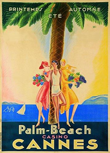 Vintage Travel Frankreich für Cannes und die palm-beach Casino Kunstdruck 's 250gsm, Hochglanz, A3, vervielfältigtes Poster