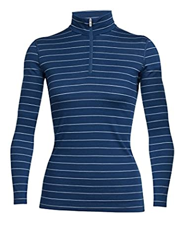 Icebreaker Damen Wmns Oasis LS Half Zip Funktionsshirt, Largo/Ice Blue/Stripe, M