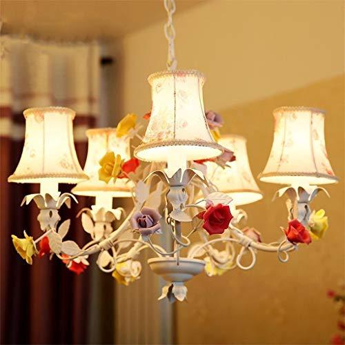 Kronleuchter Wohnzimmer Esszimmer Kronleuchtern, Garden-Style Raumbeleuchtung, Schmiedeeiserne koreanischen Stil Gras Lampen, fünf Stück Tuch Keramik Blumen - Stil Ein Stück Tuch