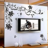 Wallpark Creative Romantic Black Vine Butterfly Flowers Removable Wall Sticker Decal, Living Room Bedroom Home Decoration Adhesive DIY Art Wall Mural - Wallpark - amazon.co.uk