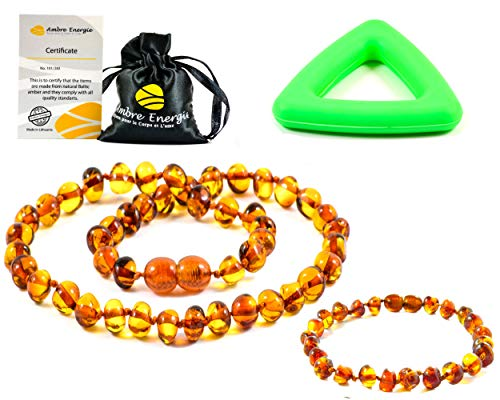 Collar de ambar 33cm + Pulsera (14cm) - De la Máxima Calidad Certificado Genuino Collar de Ámbar Báltico / Rápido Entrega / 100 Días de Garantía de Devolución de Dinero! (Cognac)