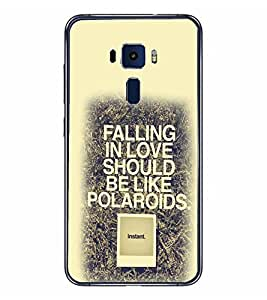 PrintVisa Designer Back Case Cover for Asus Zenfone 3 ZE552KL (5 Inches) (Falling in Love Quote Instand Polaroids )