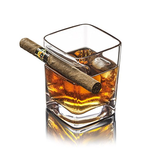Whiskyglas mit Zigarrenhalter, hält Zigarren- und Zigarettenliebhabern die Hände frei. Altmodisches, ultraklares Glas für Wein, Bourbon, Brandy, Bier, oder Likör (320 ml) (Bourbon-bier)