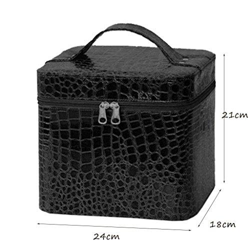 CLOTHES- La versione coreana impermeabilizza la cassa cosmetica della scatola di immagazzinaggio della casella di cuoio di grande capacità ( Colore : Rosso ) Nero