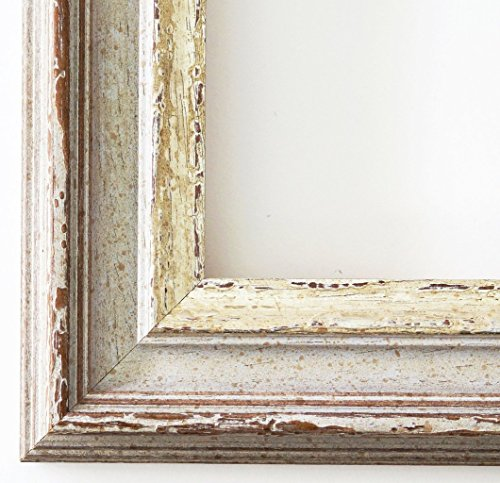 Spiegel Wandspiegel Badspiegel Flurspiegel Garderobenspiegel - Über 200 Größen - Trento Beige Silber 5,4 - Außenmaß des Spiegels 40 x 140 - Wunschmaße auf Anfrage - Antik, Barock