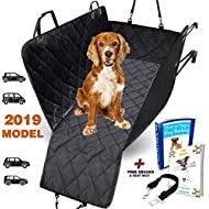 AMZPET Dog Seat Cover for Car Truck SUV, Waterproof with Side Flaps and Durable Anti-Scratch Nonslip Machine Washable Pet Back Seat Cover. Can be Used as Dog Car Hammock or Car Boot Liner