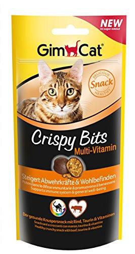 GimCat Crispy Bits, knuspriger Fleischsnack für Katzen mit funktionalen Inhaltsstoffen, ohne Zuckerzusatz, Multi-Vitamin, 3 Beutel (3 x 40 g)