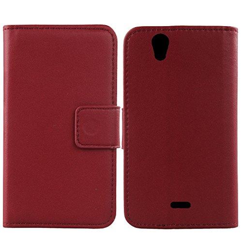 Gukas Design Echt Leder Tasche Für Wiko Birdy 4G Hülle Lederhülle Handyhülle Handy Flip Brieftasche mit Kartenfächer Schutz Protektiv Genuine Premium Case Cover Etui Skin (Dark Rot)