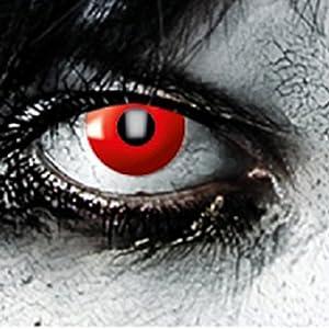 Farbige Kontaklinsen in ROT für Zombie oder Vampir Kontaktlinse der Marke LEO EYES-Qualität zum kleinen Preis-ideal zu Halloween, Karneval, Fasching oder Fasnacht-ohne Stärke