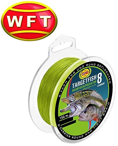 WFT TF8 Raubfisch Schnur Chartreuse 150m, geflochtene Schnur, Angelschnur, Hechtschnur, Zanderschnur, Barschschnur, Forellenschnur, Meeresschnur, Durchmesser/Tragkraft:0.15mm / 10kg Tragkraft