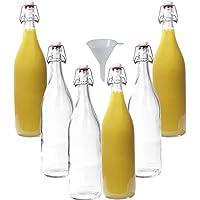 mikken Lot de 6 bouteilles en verre avec bouchon mécanique en porcelaine 1 l + entonnoir