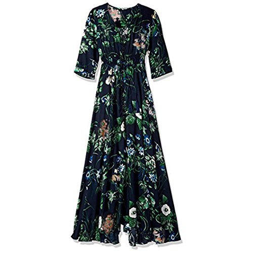 Yanhoo Frauen Sommer Taste up Split Floral Cotton Quasten Flowy Party Maxi Langes Kleid Neue Frauen Sommer Schulterfrei Floral Short Mini Kleid Damen Beach Party Kleider (L2, Blau)