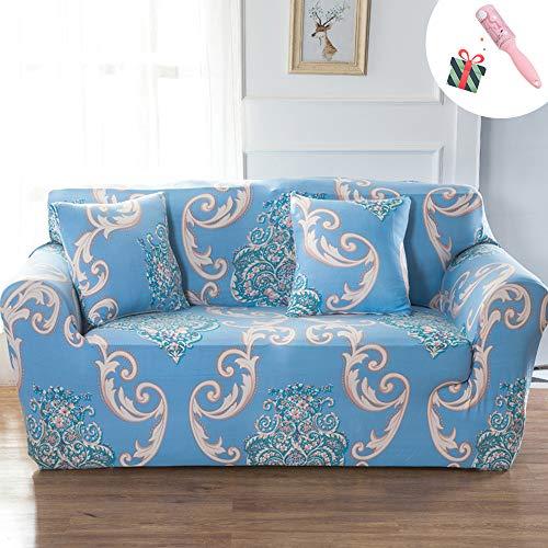 Morbuy copridivano, stampa elasticizzato fodera copridivani universale per divano con corda fissa sofa protettore copertura divano antiscivolo serie di fiori (3 posti,classico - blu)