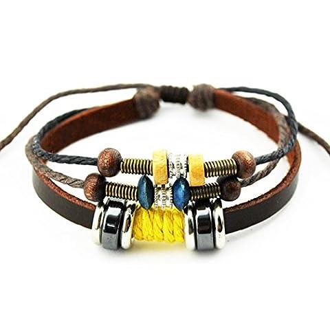 Plus amusant Couple de mode Anneaux en métal Woods Multicolore tissé Cuir tressé réglable Bracelet