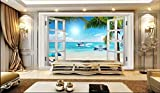 hjcmhjc Personnalisé Photo Murale 3D Papier Peint Yacht Cygne en Dehors de la fenêtre Fond décor à la Maison Salon Papier Peint pour Les Murs 3 d-400 * 300cm
