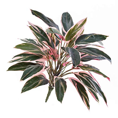 artplants Set 'Künstliche Cordyline + Gratis UV Schutz Spray' - Künstliche Keulenlilie Thais, auf Steckstab, grün-rosa, 50cm