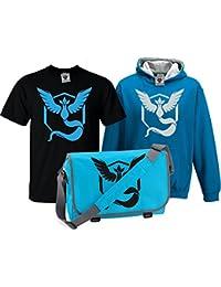 Bullshirt 's Kid 's Deluxe Team Mystic T-Shirt, Kontrast Hoodie & Messenger tasche Set