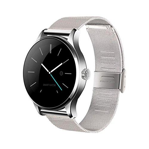 TPulling Smart K88H Stahl Mit Schlauer Bluetooth Smartwatch Herzfrequenzschreiber Armbanduhr Edelstahl (Silber)