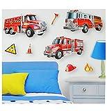 7 tlg. Set: XL 3-D ! Wandsticker / Fensterbild / Sticker - Feuerwehr - wasserfest beschichtet - selbstklebend Pop-Up Aufkleber Wandtattoo - Feuerwehrauto - z.B. für Bad / Badezimmer - aus Folie / Feuerwehrmann Auto