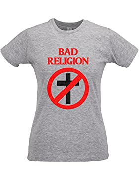 LaMAGLIERIA Camiseta Mujer Slim Bad Religion - T-Shirt Punk Rock 100% Algodòn Ring Spun