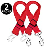 Aodoor Pet Dog Cat Car Safety Seat Belt Lead Restraint Harness Adjustable Safety Harness for Car Vehicle 18-27.5 Inch 2 Pack Red