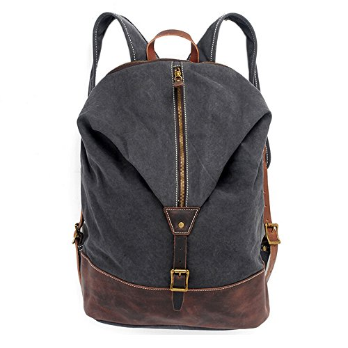 Canvas Rucksack, boshiho Outdoor Vintage starker Leinwand Rucksack Reisen Wandern Camping Bag Schulter Schule Tasche Grau
