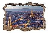 3D WANDILLUSION murando 140x100 cm Wandbild - Fototapete - Poster XXL - Loch 3D - Vlies Leinwand - Panorama Bilder - Dekoration - Stadt Paris d-C-0058-t-a