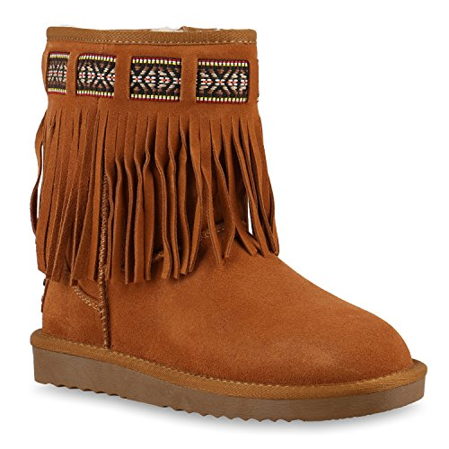 Damen Stiefeletten Leder Schlupfstiefel Boots Kostüm skostüm Indianer Fransen Squaw Pocahontas Schuhe 128690 Hellbraun Fransen 38 | (Und Mehr Kostüme)