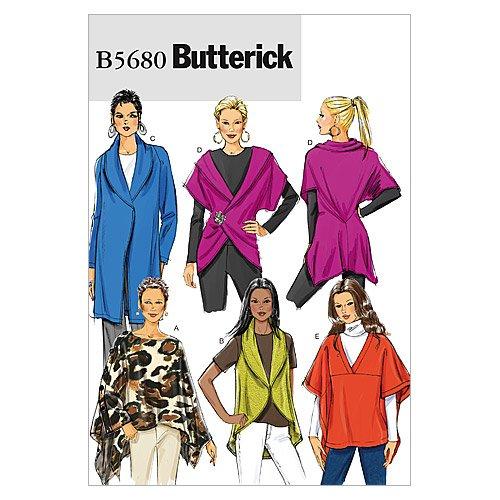 Butterick Patterns B5680 - Cartamodello per gilet e scialle da donna, formato Y, taglie XS-S-M, (Scialle Pattern Maglia)