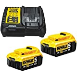 Dewalt B DCB184 5.0ah 18v XR Lithium Ion Battery Twin Pack + DCB115 Charger, Yellow