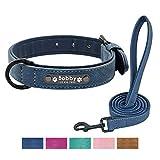 Didog Hundehalsband, weiches Leder, gepolstert, personalisierbar, mit Namensschild und D-Ring, graviertes Hundehalsband für kleine mittelgroße und große Hunde