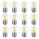EXTRASTAR Filamento LED E27, 4W Equivalenti a 35W, 400Lm, 3000K Luce Calda,G45 Stile Vintage, Non Dimmerabile, Confezione da 12 Pezzi