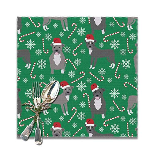 Hectwya Pitbull Peppermint Stick Winter Candy Cane Christmas Green Placemats for Dining Table,Washable Placemat Set of 6, 12x12 inches - Peppermint Candy Crafts