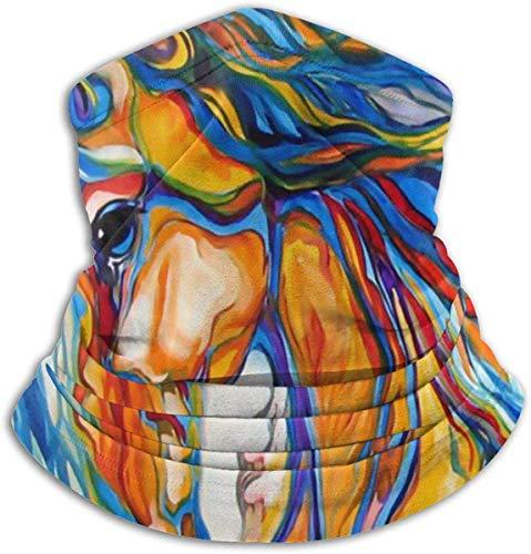 Amanda Horatio Art Zebra Pferde-Halswärmer Gamasche Fleece elastisch Skifahren Gesichtstuch Maske für Männer Frauen Einheitsgröße