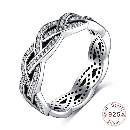 Daesar 925 Silber Ring Verlobung Unendlich Zirkonia Partnerring Silber Ring Verlobung Gr.54 (17.2)