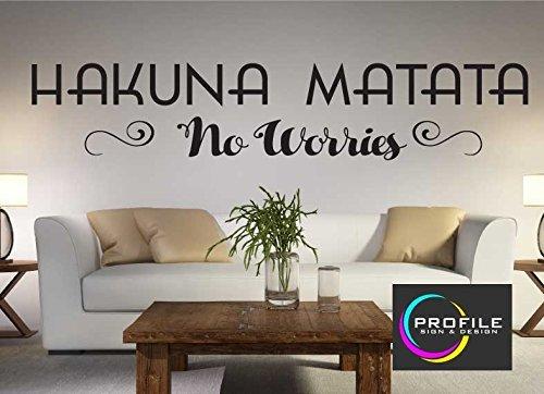 """PROFILE SIGN - Adesivo da parete """"Hakuna Matata - No Worries"""" de Il Re Leone, dimensioni: 800x 157mm"""