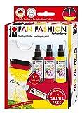 Marabu 171900086 - Fashion-Spray Set Fan 3 x 100 ml Sprühfarbe für Stoff inkl. 1 Gratis Stoffmal-Liner, Stoffmalspray mit Pumpzerstäuber für helle Stoffe, waschbeständig bis 40°