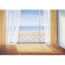 Artland Wandbild auf Alu-Verbundplatte A. Heins Terrasse mit Meerblick Landschaften Fensterblick Malerei Blau